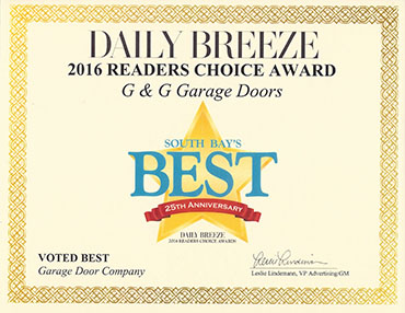 G&G Garage Doors is recognized by the Daily Breeze for readers choice.