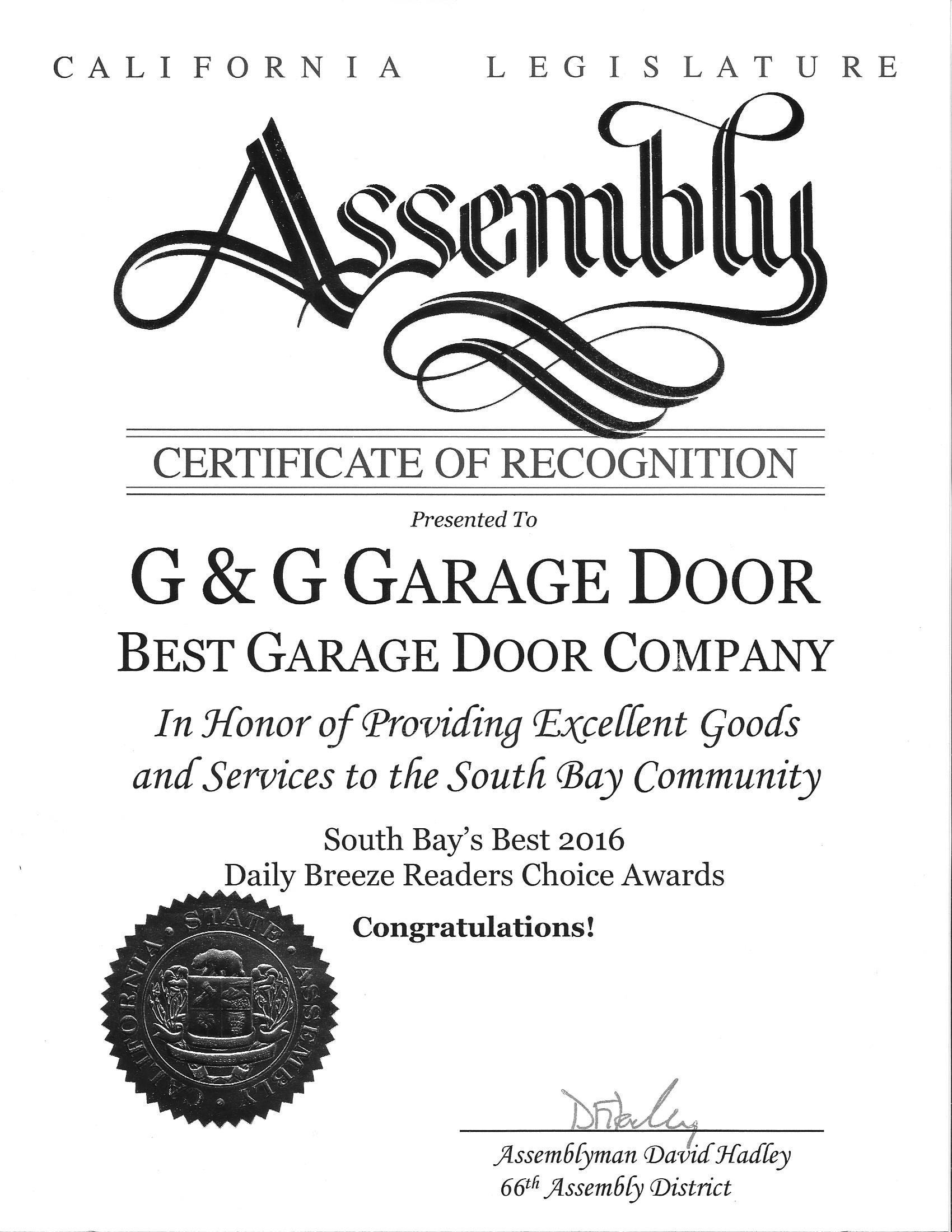 G&G Garage Door, Honored to be awarded the Best Garage Door Company