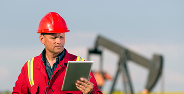 Oil Worker and Internet rugged tablet