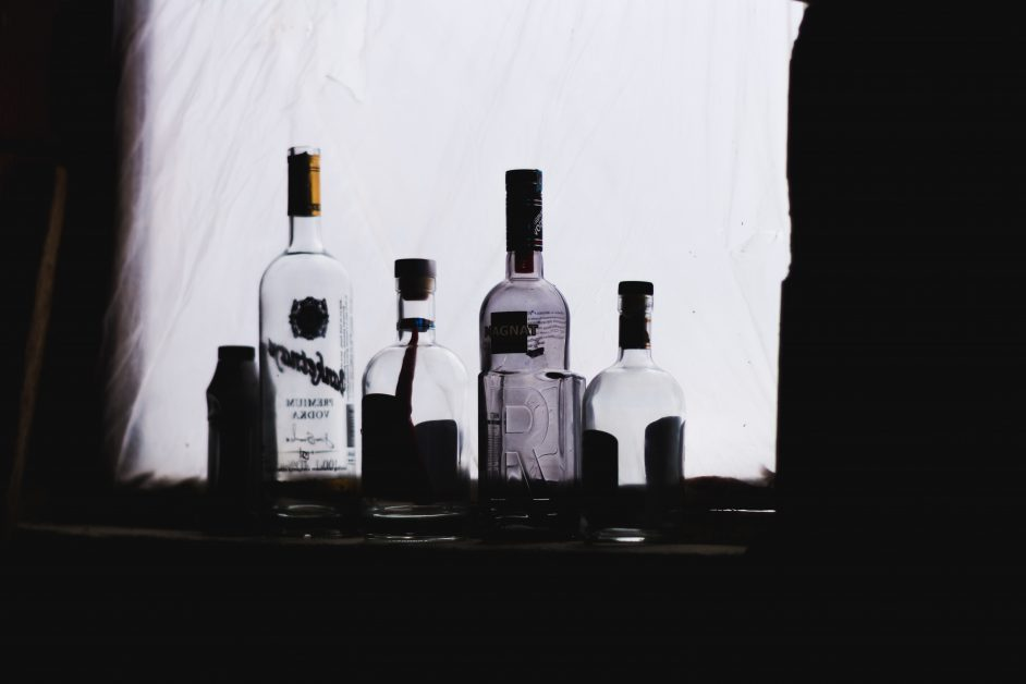 An image of empty alcohol bottles.