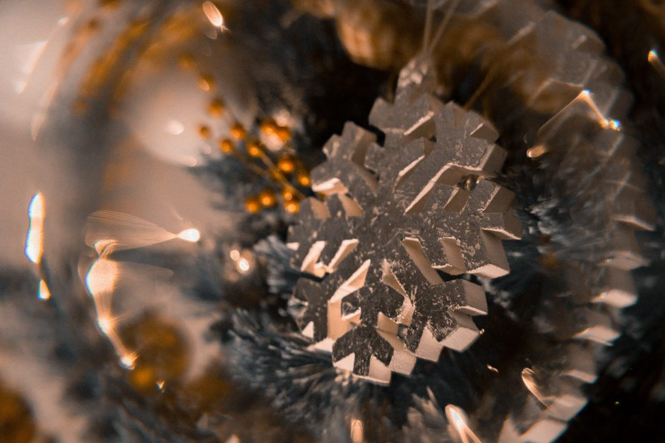 An image of an ornament with a snowflake.