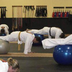 An adult karate class at Grandmaster Amy Reed's Black Belt Academy in Stuart, FL.