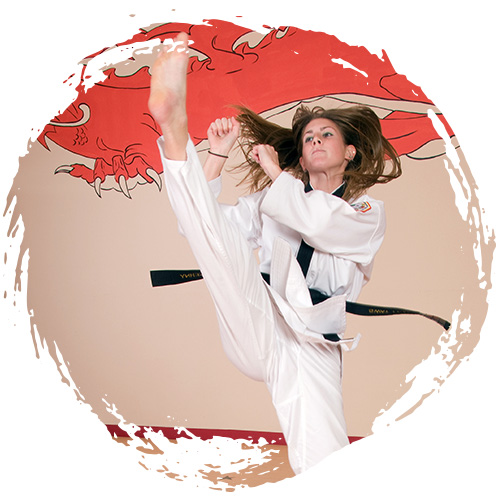 A karate student practicing self-defense techniques at Grandmaster Amy Reed's Black Belt Academy in Stuart, FL