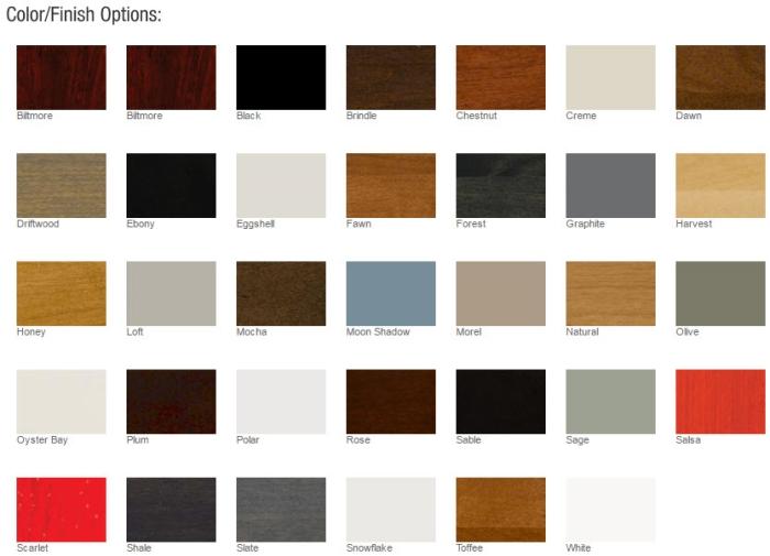 Bertch Color/Finish Options