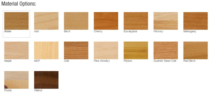 Bertch Cabinets Material Options Include: