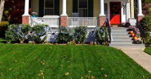 image of the front of a house decorated for Halloween
