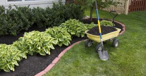 shovel leaning on wagon of soil in front of garden