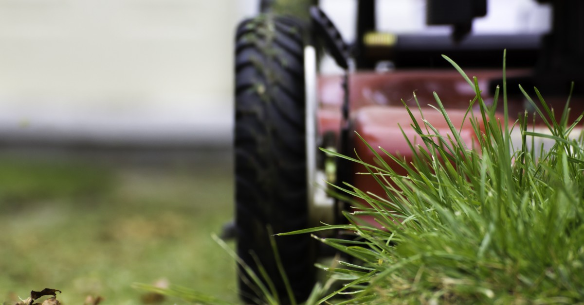 image of lawn mower wheel and clump of grass