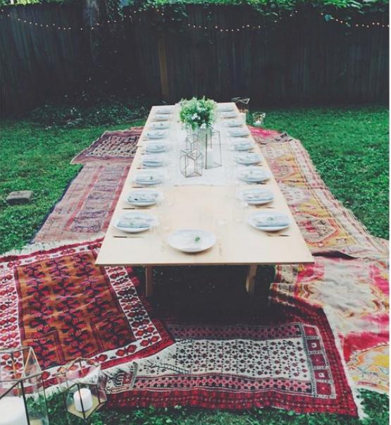 rug picnic backyard