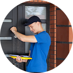 Service man knocking on door