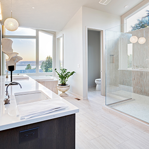 Modern Bathroom With Floor and Shower Tiles