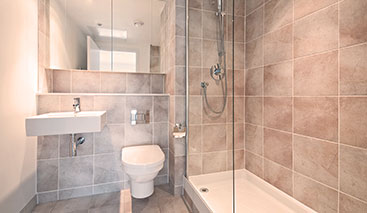 Bathroom With Modern Brown Tiling