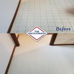 Before and After Grout Cleaning of Floor