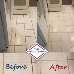Before and After Tile Cleaning in Laundry Room