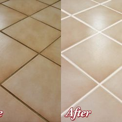 Before and After Closeup of Grout Cleaning