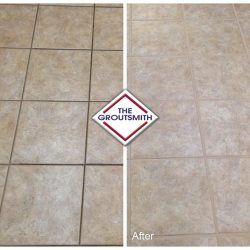 Before and After of Grout Cleaning on Flooring
