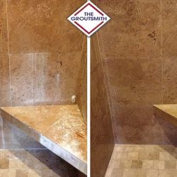 Grout Restoration in Shower With Tile Flooring and Walls