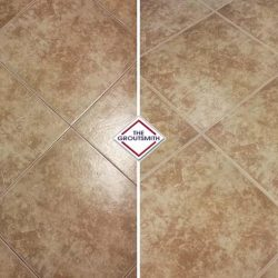 Before and After Grout Restoration of Floor Tiles