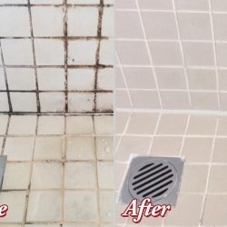 Before and After of Grout Restoration in Shower