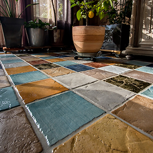 Closeup of Tile Flooring With Varied Tiles