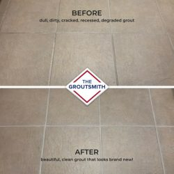 Before and After Grout Restoration on Flooring Tile