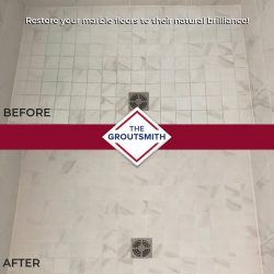 Before and After Marble Tile Flooring Restoration in Shower