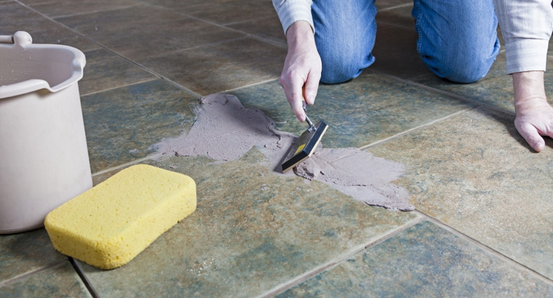 Applying Grout to New Tile Floor