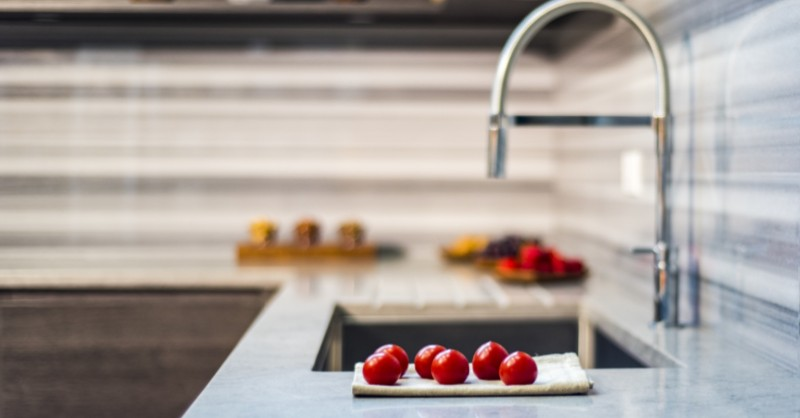 Kitchen Sink Closeup With Backsplash