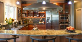 New Modern Kitchen With Tiled Backsplash