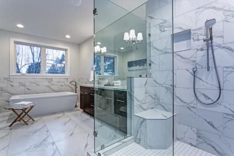 Modern Bathroom With Marbled Tile