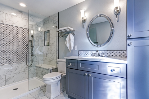 Bathroom With Clean, White Marble Tile