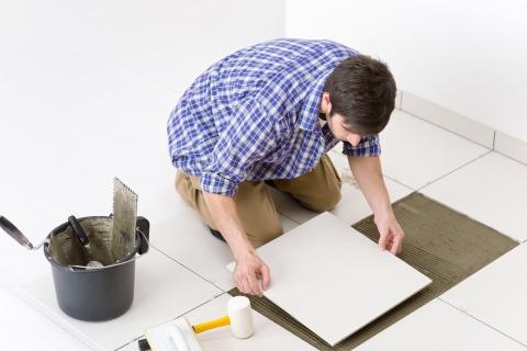 Man Installing New Tile