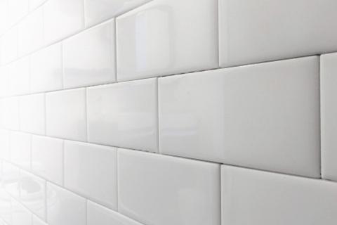 Clean White Wall Tile Closeup