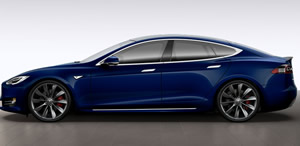 Rent a Tesla Model S in blue.