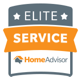 """An orange and grey vector icon that reads """"Elite Service HomeAdvisor"""""""