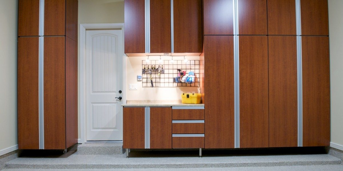A small garage cabinet for storage.
