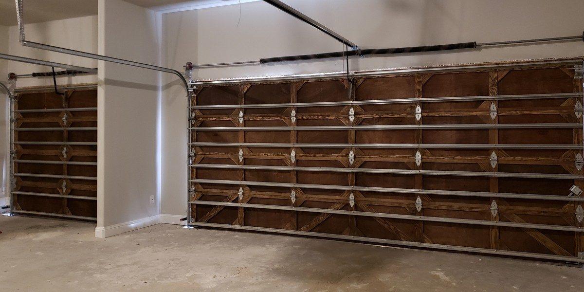 The interior of a wood garage door.