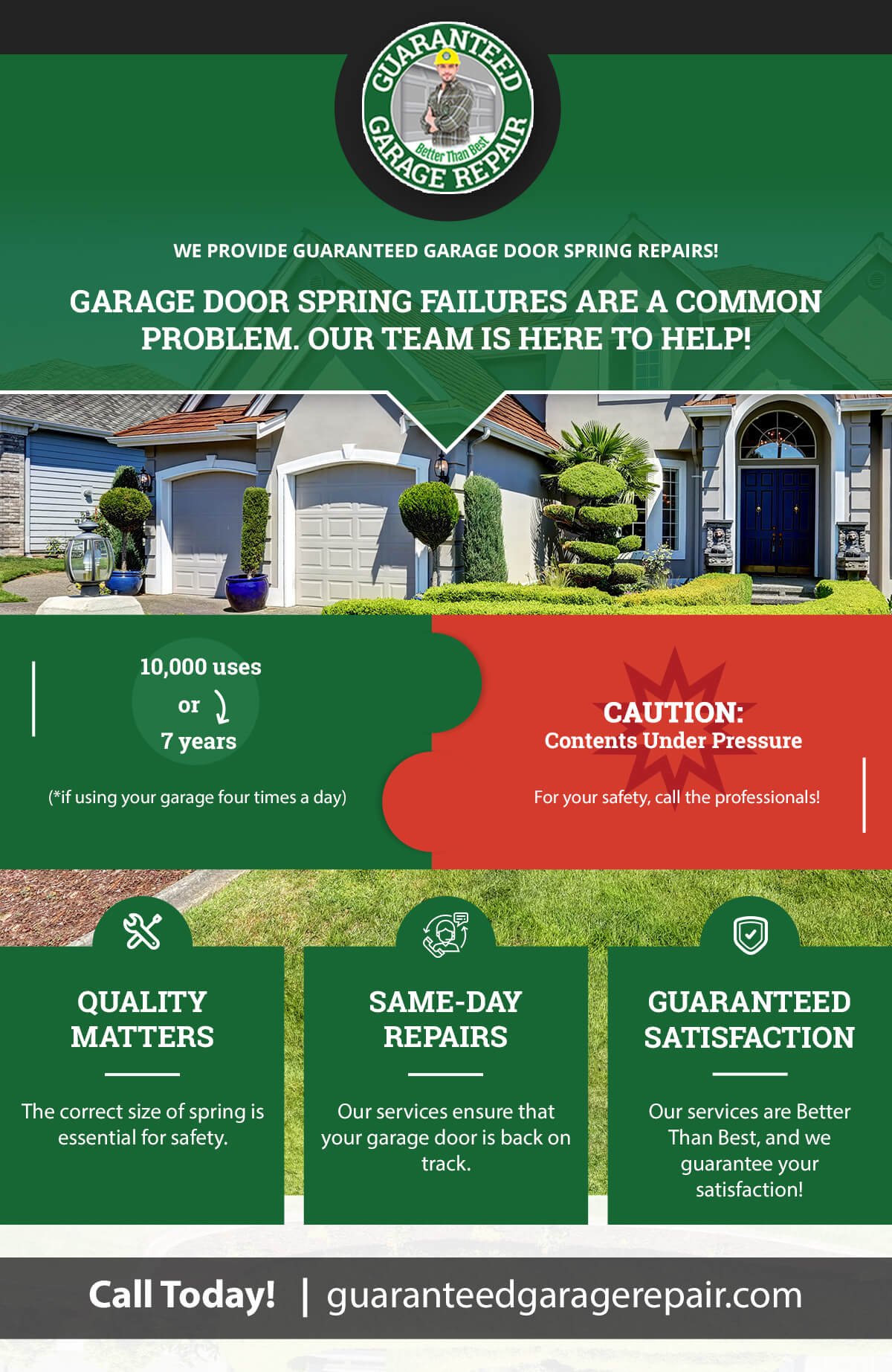 """""""Garage Door Spring Failures are a common problem. Our team is here to help!"""" infographic"""