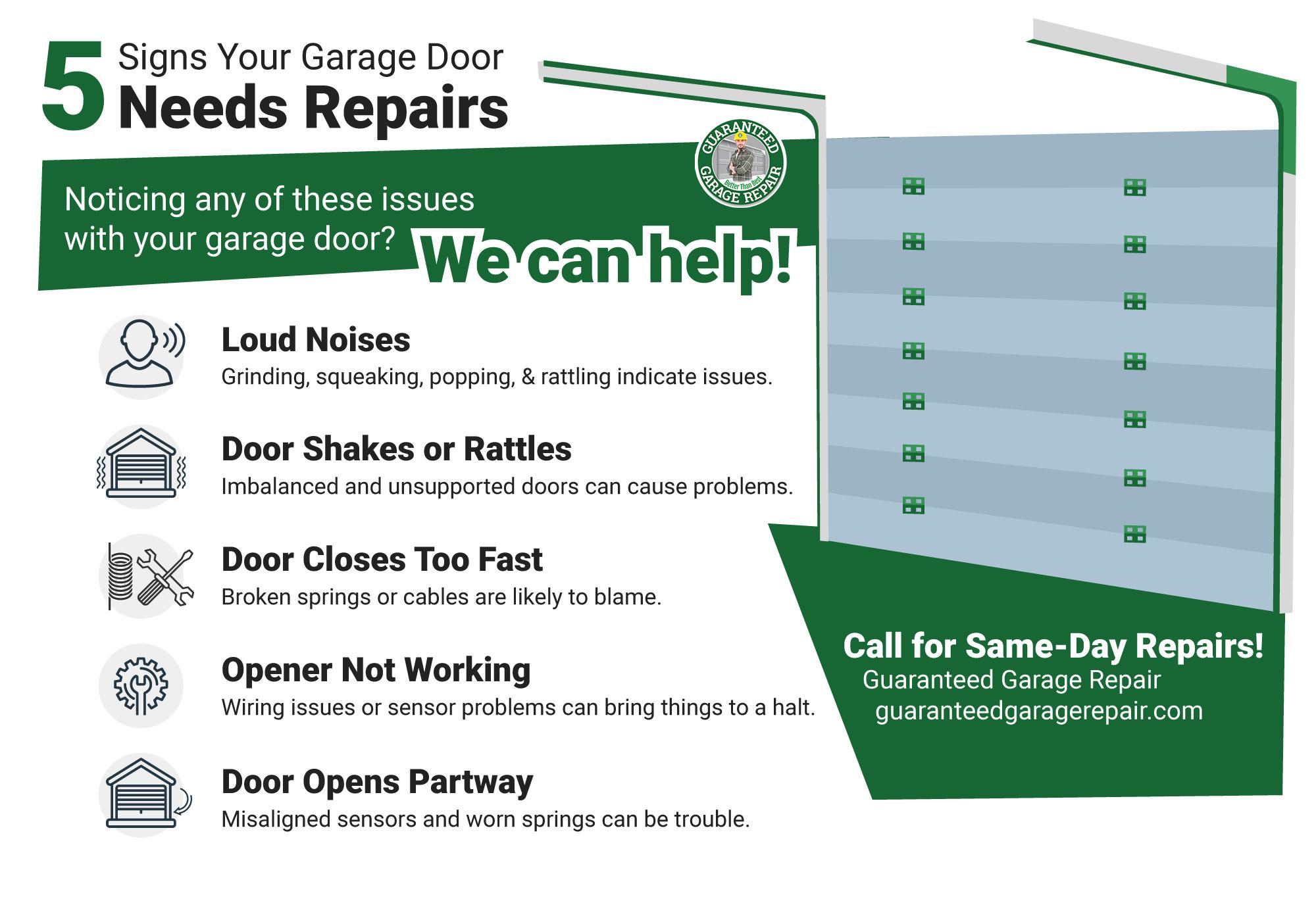 """""""5 Signs Your Garage Door Needs Repairs"""" infographic"""