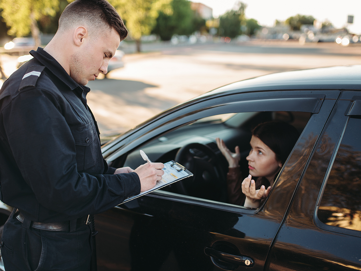 driver receiving a traffic citation
