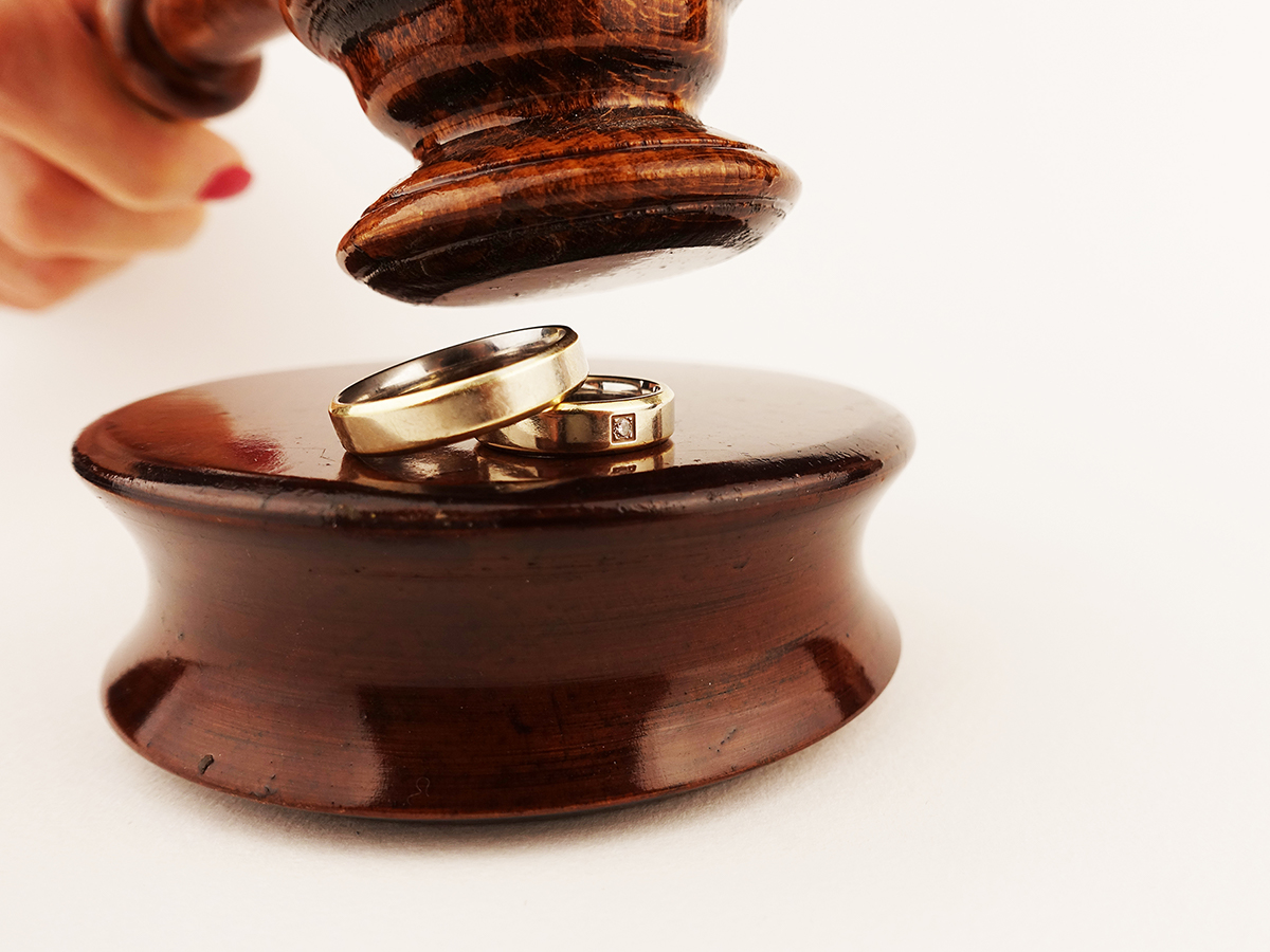 wedding rings and a gavel