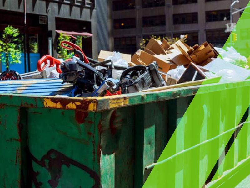 A green, 30-yard roll-off dumpster.