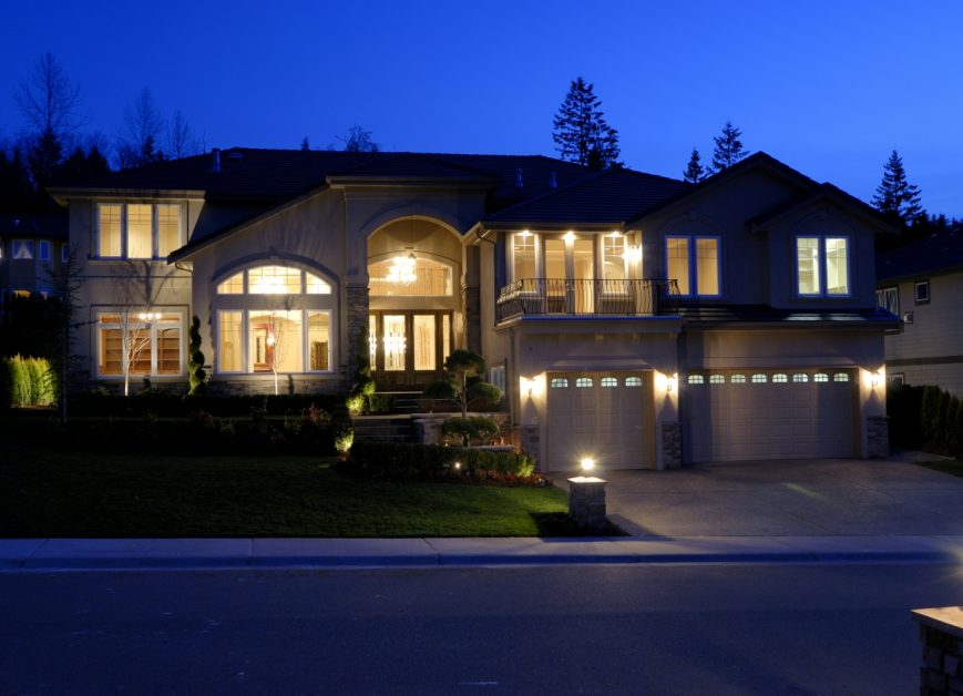 Home Lit Up at Night
