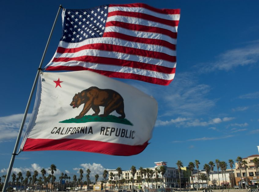 Californian and American Flags