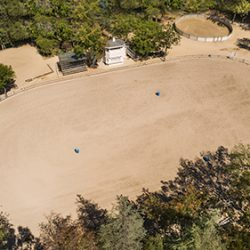 Aerial view of Spring Valley arena in luxury home community in Hidden Hills.