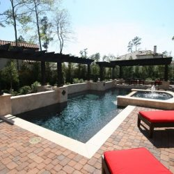 Brick patio with custom pool and pergolas - Hipp Pools