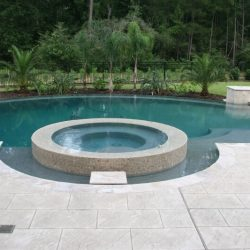 Custom pool with half circle and landscaping - Hipp Pools