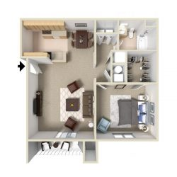 A single bedroom apartment layout.