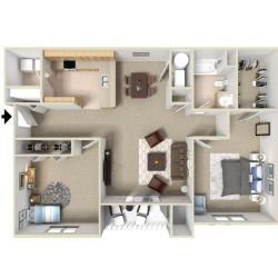 A bird's eye view of a two bedroom apartment.