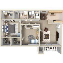 A bird's eye view of an apartment layout.